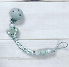 Schnullerkette Schnullerband Nuckelkette Beißkette mit Namen grau mint Silikon