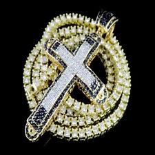 NEW 14K YELLOW GOLD FINISH JESUS CROSS CHARM PENDANT TENNIS CHAIN NECKLACE SET