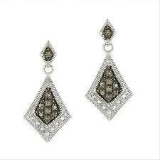 925 Silver 1/5 CTW Champagne Diamond Geometric Earrings