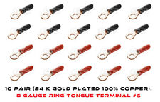 10 PAIR 100% COPPER 8 GAUGE RING TONGUE TERMINALS 10 RED + 10 BLACK BOOTS #6