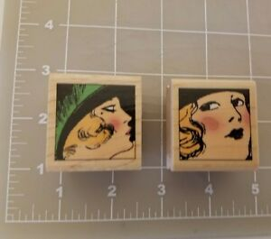 Hampton Art Bree & Brenda Comic 1920's Women Wood Mounted Rubber Stamps #4580