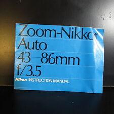Usado Zoom - NIKKOR Auto 43-86mm F/3.5 No Ai Lente Guía Manual O401407