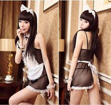 Women Housemaid Cosplay Sexy Lingerie Lace Babydoll G-String Nightwear Outfit