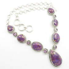 925 Solid Sterling Silver Real MOHAVE PURPLE COPPER & AMETHYST Necklace 18.7""