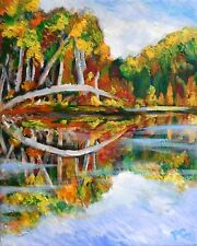 AUTUMN LAKE 8x10 IMPRESSIONISM Original Acrylic Painting by Patricia