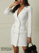 Women Short Bodycon Lapel Blazer Double Breasted Long Sleeve V-neck Work Dress