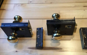 Original old Victorian Cast Iron rim locks , Keeps + Brass Knobs x 2 Sets