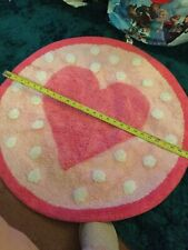 MOTHERCARE - GIRLS PINK  / WHITE CIRCULAR HEART RUG BEDROOM /  BATHROOM  - USED