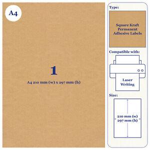 A4 Brown Kraft Paper Labels, 20 Sheets Laser, Inkjet Printer Craft Stickers