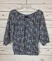 J.Crew Women's XS Extra Small Navy Floral Liberty Art Fabrics Spring Blouse Top