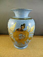 """Vintage Slate Blue Enamel Gold Overlay Floral India Brass Vase 7"""" Tall"""