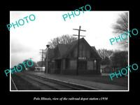 OLD LARGE HISTORIC PHOTO OF POLO ILLINOIS, THE RAILROAD DEPOT STATION c1950