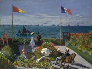 Vintage painting art claude monet artwork Jardin à Sainte canvas framed
