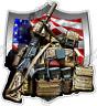 "Military Pack Weapon Ammunition US Army Flag Car Bumper Vinyl Sticker Decal 4.6"""