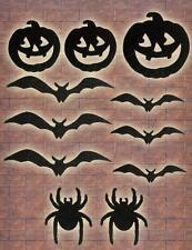 Halloween Negro Brillo corte Decoración MURCIÉLAGOS ARAÑAS calabazas ventana