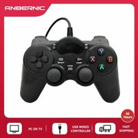 ANBERNIC Black Wired USB Game Controller pad For PC Laptop Game Joystick