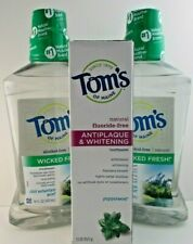 Tom's of Maine Wicked Fresh Alcohol Free Mouthwash & Antiplaque Toothpaste 3 Pcs