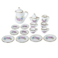 15 Piece Miniature Dollhouse Dinnerware Porcelain Tea Set Tableware Mug Pla Q7N3