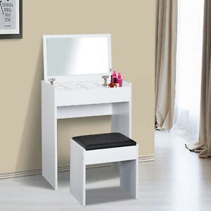 HOMCOM Dressing Table Set Padded Stool with Flip-up Mirror Multi-purpose - White