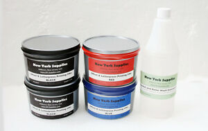 Offset & Letterpress Ink (Assorted, 2 Blacks, Blue, Red) and Roller/Blanket Wash
