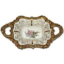 Vintage Meissen Handled Serving Bowl or Platter, Gold Trim & Handles, Floral 10""