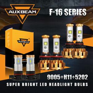 AUXBEAM 9005+H11 LED Headlight Kit High+Low Beam+H16 5202 2504 Fog Light 5Pairs