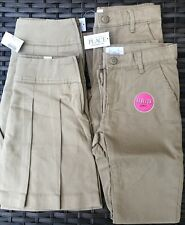 Girls Uniform 2 Pleated Skorts & 2 Bootcut Pants Adjustable Waist Size 8 Sesame