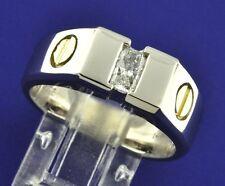 0.55 ct men's 14k 2 tone Gold Mens Natural Diamond Solitaire Ring Radiant Cut