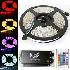 5M 300 Leds 5050 RGB Led Strip Lights Waterproof + Music Sound Sensor Controller