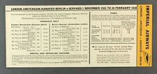 IMPERIAL AIRWAYS AMSTERDAM HANNOVER BERLIN WINTER 1933/34 AIRLINE TIMETABLE