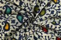 Indian Floral Hand Block Print Dressmaking Craft Fabric Cotton By 10 Yard Blue