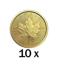 10 x 1 oz Gold 2019 Maple Leaf Coin RCM - Royal Canadian Mint