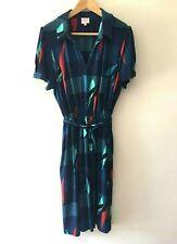 Leona Edmiston Retro Style Print Midi Dress Size 16 Short Sleeve Stretch Party