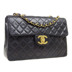 CHANEL Quilted CC Jumbo XL Double Chain Shoulder Bag 2754053 Purse Black AK45814