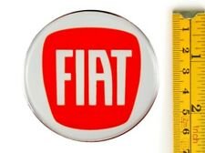 "FIAT *4 x NEW* RED Emblems 65mm (2 3/8"") WHEEL CENTER CAP STICKERS 3D DECALS"