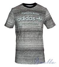 c840c390 adidas Originals Grey Marl Striped Mens Top Short Sleeve Shirt Ribbed Neck  BNWT