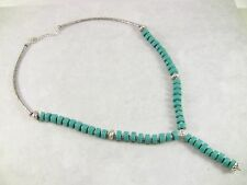 """Women's Necklace Turquoise Gemstones Silver-Toned Metal 21"""" Long Jewelry Gift"""