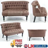 New Modern Brown Sofa Chair 2 Seater Living Dining Room Armchair Tuffed Buttons