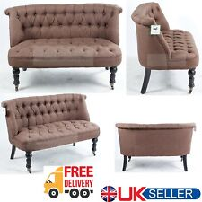 Modern Brown Sofa Chair 2 Seater Living Dining Room Armchair Tuffed Buttons New
