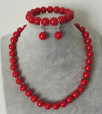 10mm New Red Coral Beads Necklace Bracelet Earrings Set