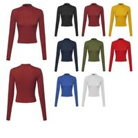 FashionOutfit Women's Basic Solid Cotton Based Long Sleeves Mock-Neck Crop Top