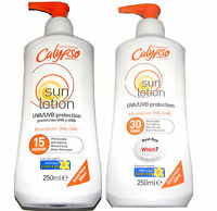 2 x CALYPSO FACTOR 15 + 30 WATER RESISTANT SUN TAN TANNING LOTION CREAM UVA UVB