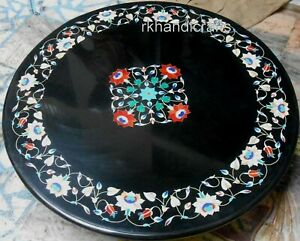 24 Inches Marble Coffee Table Top Inlay Patio Table with Mother of Pearl Work