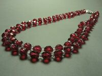 Vintage Czech Bohemian 2-Row Ruby Wine Red Crystal Faceted Glass Bead Necklace