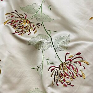 Red Embroidered Gold Floral Pattern Curtain Fabric Material 137cm wide BR236
