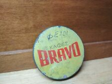 Greek Vintage Rare Advertising Tin Lid  Bravo Coffee