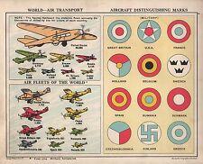 Tableau de 1934 ~ ~ transport aérien mondial flottes aériennes marques MILITAIRE AVION