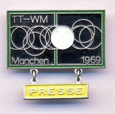 1969 TABLE TENNIS World Championships PRESS pin BADGE Munich TT Ping-Pong