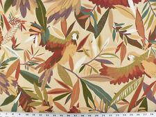 Drapery Upholstery Fabric Indoor/Outdoor Rainforest  Parrots -  Lt. Tan Multi