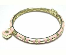 Pink Enamel Hearts Gold Plated CZ Kids Girls Bangle Charm Bracelet 57 mm